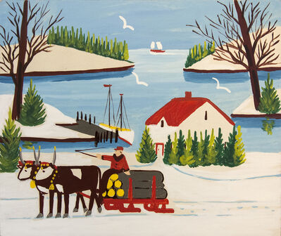 Maud Lewis, 'Oxen with Logging Wagon'
