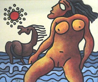 Prokash Karmakar, 'Nude women in water, horse, Mixed Media in red, blue & brown by Master Artist Prakash Karmakar', 2004