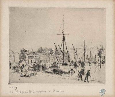 Camille Pissarro, 'LE PORT PRÈS LA DOUANE, À ROUEN (DELTEIL 43)', 1883