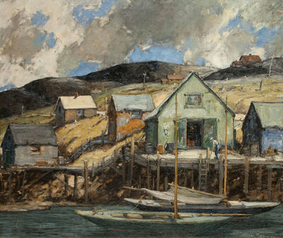 Walter Farndon, 'Boathouse and Dock in Storm, Nova Scotia, Canada', 19th -20th Century