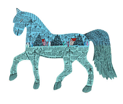 Howard Finster, 'I Love Horses'