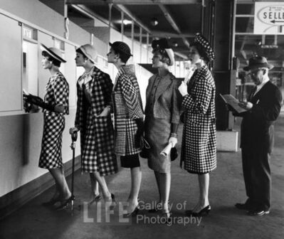 Nina Leen, 'Race Track Fashions at Roosevelt Raceway Window, New York', 1958