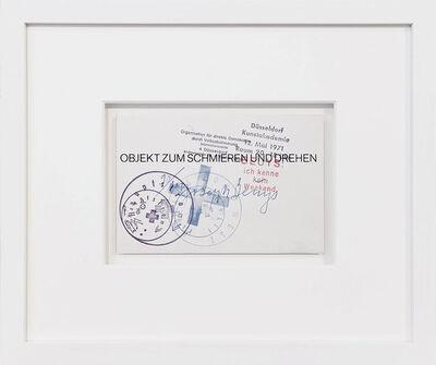 Joseph Beuys, 'Objekt zum Schmieren und Drehen', 1971