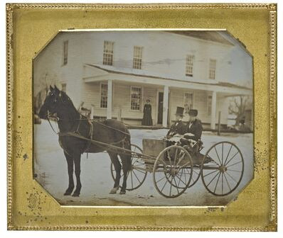 Anonymous American Photographer, 'Horse Drawn Carriage in Front of Family Home'