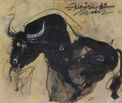 "Sunil Das, 'Bull II, Charcoal, Acrylic, Mixed Media by Padma Shree Artist Sunil Das ""In Stock""', 1962"
