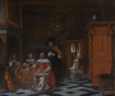 Pieter de Hooch, 'Portrait of a Family Playing Music', 1663
