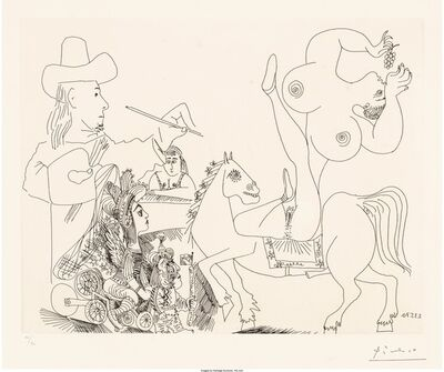 Pablo Picasso, 'Artist and Nude Equestrienne Eating Grapes, from Series 156', 1970