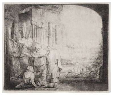 Rembrandt van Rijn, 'Peter and John Healing the Cripple at the Gate of the Temple', 1652