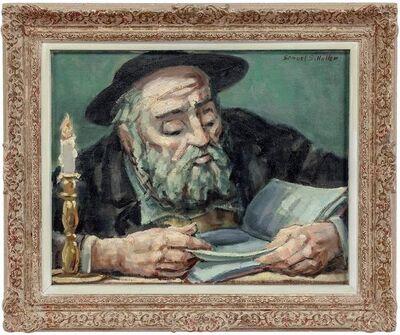 Samuel Halpert, 'Rare Judaica Jewish Rabbi Oil Painting', Mid-20th Century