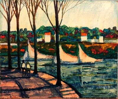 Donald Roy Purdy, 'River Walk, American Modernist Oil Painting Landscape with River and Boats', 20th Century