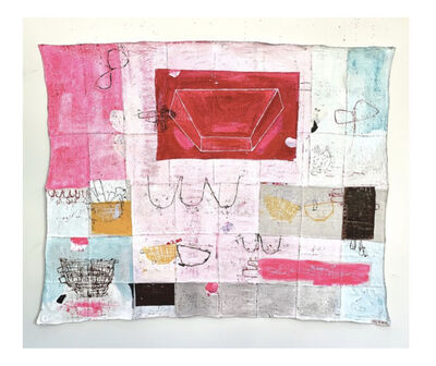 """Deb Lawrence, '61"""" x75"""" mixed media on collaged antique linen 2019',  2019"""