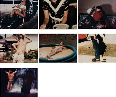 Larry Sultan, 'Seven works; (i) #3 (Mom in the lounge chair); (ii) #25 (Olive on plate); (iii) #27 (Dad hugging kids); (iv) (Larry's brother with a bandage on his head); (v) Dad in the baby pool; (vi) #20 (back to back teenagers); (vii) (two men in a waterfall) from the series Pictures From Home', 1989