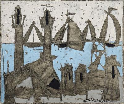 Claude Venard, 'Abstract harbor scene'