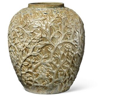 Axel Salto, 'Stoneware vase modelled with branches, leaves and flowers in relief. Decorated with glazes in shades of green, ochre, grey and blue.'