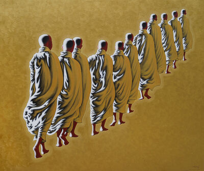 Min Wae Aung, 'Monks on the morning round (3)', 2010