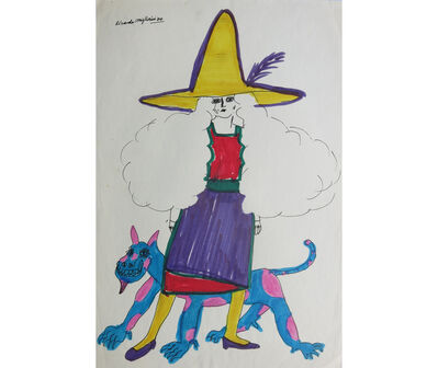 Ricardo Migliorisi, 'Mujer con sombrero amarillo y animal', 1970