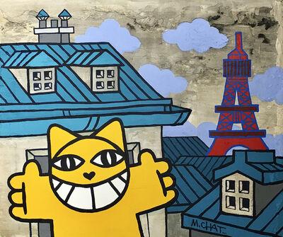 M. Chat, 'Accolade aux toits bleus', 2021