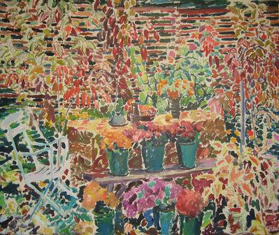 Joseph O'Sickey, 'Flower Pots on Bench in Garden'
