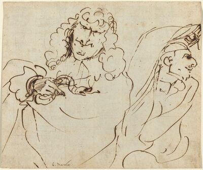 Pier Francesco Mola, 'Caricature with Mola Protecting Himself from Carlo Maratta Holding a Viper'