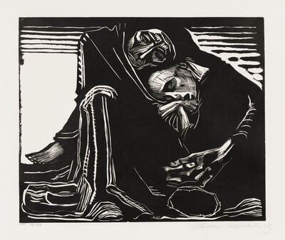 Käthe Kollwitz, 'Woman in the Lap of Death', 1920-1921