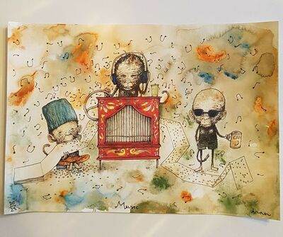 "dran, ' DRAN ""MUSICAL MONKEYS"" MULTICOLURED PRINT HAND SIGNED & NUMBERED BY ARTSIT ', 2018"