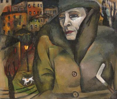 Lilja Busse, 'Woman & Street Scene', 1929