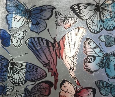 David Bromley, 'Butterflies pink and blue on silver leafing ', 2019