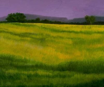 Ellen Sinel, 'Country Grasses with Purple Skies(dimensions provided are without frame)'