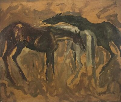 "Sunil Das, 'Early Horses, Oil on Board by Padma Shree Artist Sunil Das ""In Stock""', 1958"