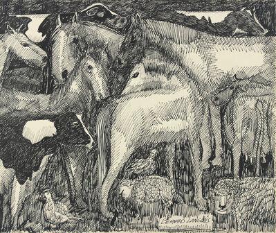 Bernard Langlais, 'Horses, Cows, Sheep, Hens', ca. 1970
