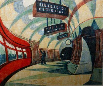 "Cyril Power, '""Tube Station"" 1932 Grosvenor School Vorticist Linocut Art Deco Print Modernism', 1932"
