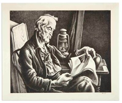 Thomas Hart Benton, 'OLD MAN READING (FATH 44)', 1941