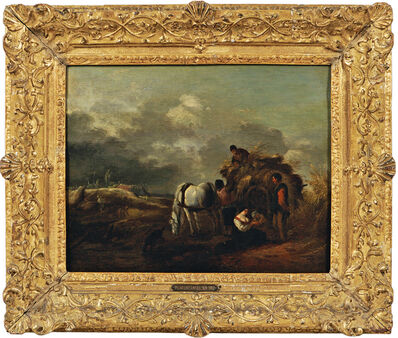 Philips Wouwerman, 'Hay Cart, Harvesters, and Family Under a Cloudy Sky'