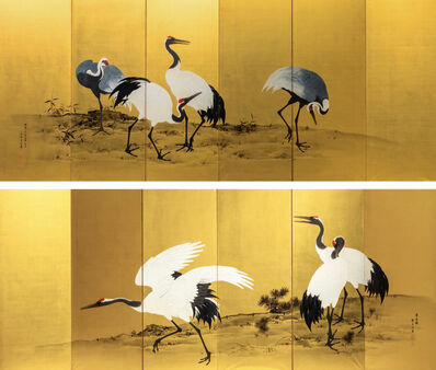 Mochizuki Gyokkei, 'Painted Gold Screens with Flock of Cranes', 1906