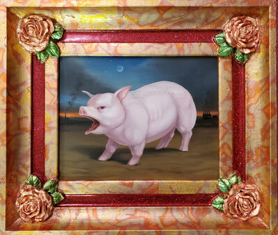 Laurie Hogin, 'Red-Faced Hogs (Willful Ignorance) Stand Guard in Their Agri-Industrial Wasteland, Framed by Four American Beauty Roses', 2020