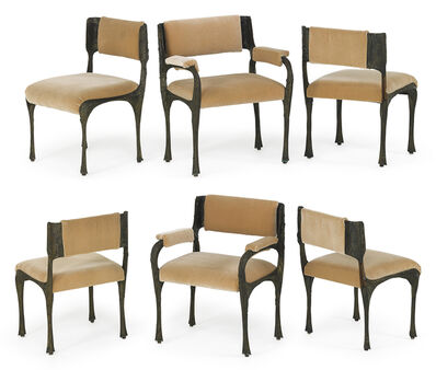 Paul Evans (1931-1987), 'Set of six Sculptured Metal chairs, two arm- and four side-', 1970s