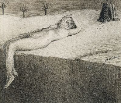 Alfred Kubin, 'Reclining Nude by a Cliff', ca. 1900