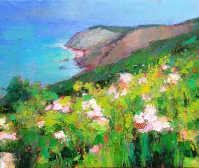 "Larry Horowitz, '""Gay Head"" oil painting of Aquinnah Cliffs with green grass and pink flowers', 2010-2017"