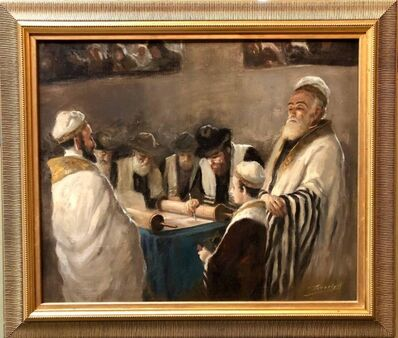 Anton Peczely, 'Rare Hungarian BAR MITZVAH boy at Torah with Rabbi Judaica Oil Painting', Early 20th Century