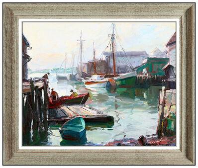 Emile Albert Gruppe, 'Emile A Gruppe Original Oil Painting On Canvas Gloucester Harbor Signed Artwork', 20th Century