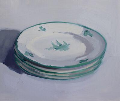 Carrie Mae Smith, 'Four Italian Teal Rimmed Plates', 2018
