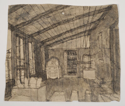 James Castle, 'Untitled (Room interior with slanted ceiling)', n.d.