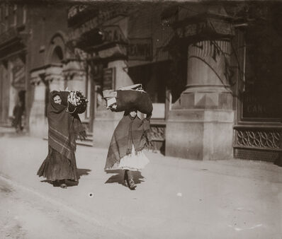 Lewis Wickes Hine, 'Women Carrying Garments, Bleecker Street, New York City, New York', 1912