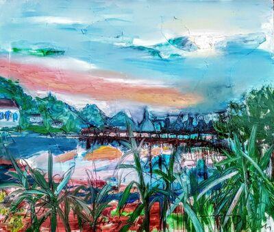 Norma de Saint Picman, 'Water paintings Summer 2019 - plein air in situ paintings, Strunjan, sunset, red soil', 2019