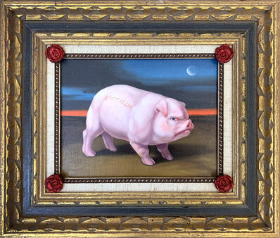 Laurie Hogin, 'A Red-Faced Hog Stands Guard in his Agri-Industrial Wasteland, Framed by Four American Beauty Roses (Nostalgia and Moonlight)', 2020