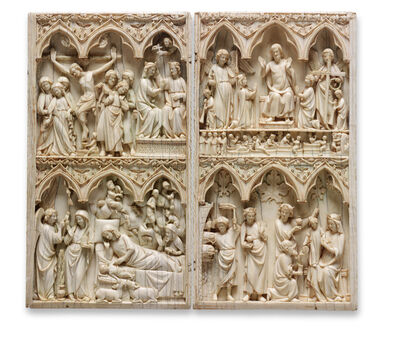 French, Île de France, 'Diptych with scenes of the Nativity,  the Crucifixion, and the Last Judgment', 1275-1325