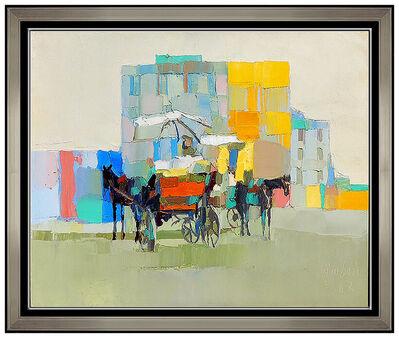 Nicola Simbari, 'Nicola Simbari Original Oil Painting On Canvas Signed Beach Landscape Horse Art', 20th Century