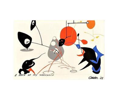 """Alexander Calder, ' """"A Piece of my Workshop"""", Wallpaper, silkscreen on canvas.', 1948"""