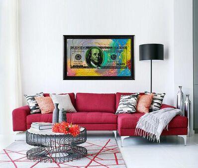 Steve Kaufman, 'Steve Kaufman  $100 bill Original Painting on Silkscreen on Canvas Andy Warhol Assistant Contemporary Art', 1990-2010