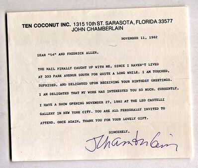 John Chamberlain, 'Typed Letter re: Leo Castelli Exhibition (Hand Signed) ', 1982